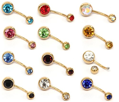 [12 PCS Gold Belly Button Rings,Sexy Cute Navel Piercing Assorted Diamond Curved Barbell,316L Surgical Steel Lead and Nickel Free (Gold)] (14k Crystal Belly Button Ring)