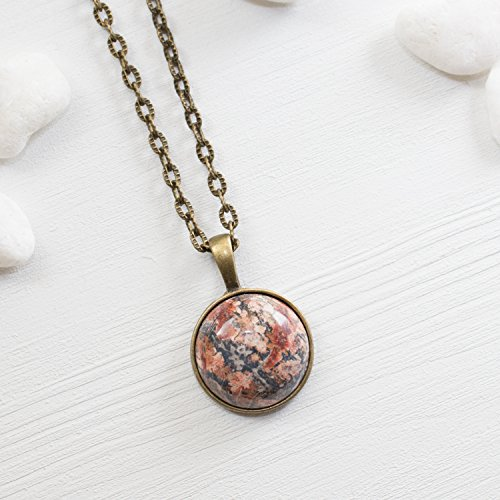 Leopardskin Jasper Gemstone Necklace - Smooth Round Jasper Necklace Natural Stone Jewelry - Handmade in the US - Jasper Round