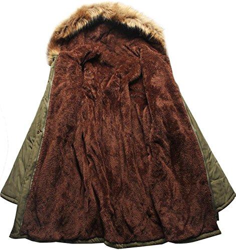 Capuche Militaire Pocket Style Vert Parka Manteau Olive Col Sugar Fourrure Fourrure de avec Chaud Hiver Femme 8wCxxz