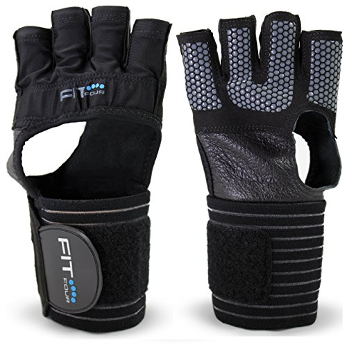 The F4X Spartan Grip - with Enhanced Silicone Palm | Fit Four Callus Guard WOD Workout Gloves for Weight Lifting & Cross Training Athletes (Grip, Medium)