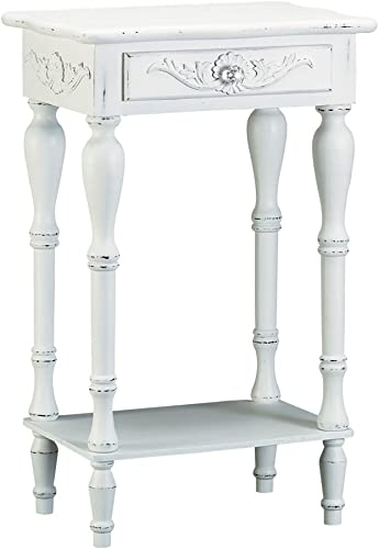 Set of 2 Carved Wood Shabby White Nightstands