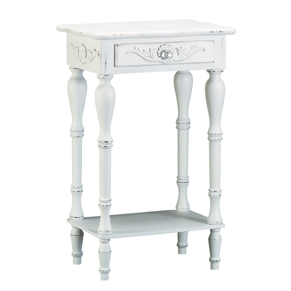 Amazon.com: Set Of 2 Carved Wood Shabby White Nightstands: Home U0026 Kitchen