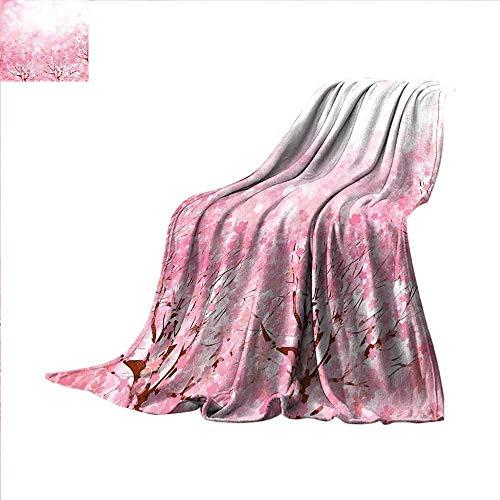 ALLMILL Light Pink Lightweight Blanket Japanese Cherry Bloss