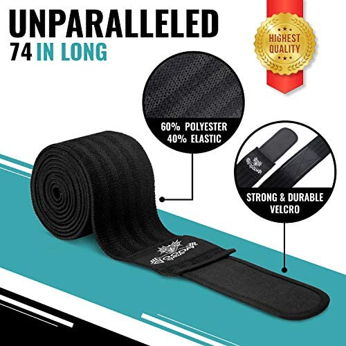 74 in Gooda Grip Knee Wraps and Powerlifting with Free Grips Pads and Gym Bag Weightlifting Compression Wraps for Knees Support Wraps for Men and Women to Support Squats 1 Pair