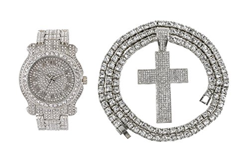 Iced Out Metal Band Bling Watch & Iced Out Cross Pendant with Matching 24 inch One Row Tennis Necklace Gift Set (Silver) (Pendant Silver Watch Set)