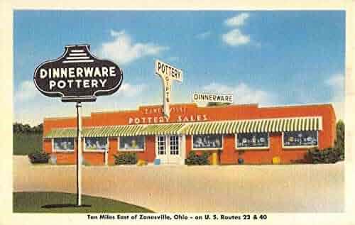 Zanesville Ohio Dinnerware Pottery Street View Antique Postcard K102718