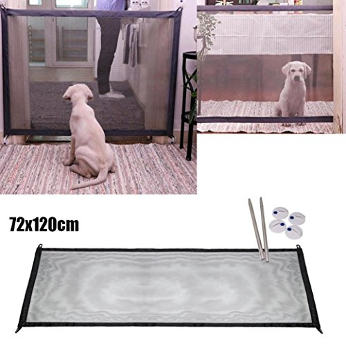 (LiPing Magic Gate Portable Folding Safety Guard for Pets Dog Cat Isolated Gauze Anywhere Drapes for Bedroom (Black, 28.3