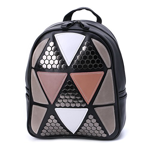School Geometric Backpack Girls Black Pink Patchwork JAGENIE Rucksack Bag Women Travel Preppy Style Xwq8T1