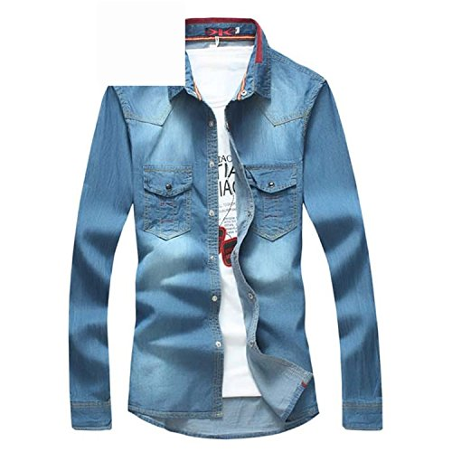 69b47594cece4 Musamk Dashing Plus Size Brand-clothing Chemise Homme 5XL Mens Dress shirts  Slim Fit Denim Shirts Long Sleeve Blue Camisa Masculina 2016 New Middle  blueXXL ...