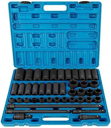 VEVOR 1/2 Inch Drive Master Impact Socket Set, 43 Piece, Metric, 9-30mm, Standard/Deep, Cr-V Steel, 6-Point Sockets, with A Steel Ratchet 4 Extension Bars 1Universal Joint 1 Sturdy Storage Case