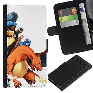MobileTech / Samsung Galaxy S3 III I9300 / P0Kemon Charizo Characters / Cuero PU Delgado caso Billetera cubierta Shell Armor Funda Case Cover Wallet Credit Card