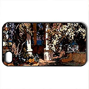 Arbor Covered Patio F1 - Case Cover for iPhone 4 and 4s (Watercolor style, Black)