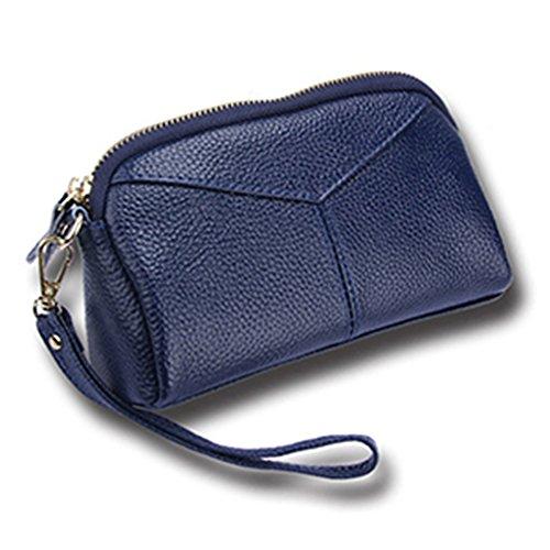 Oscuro Mujeres Las De Carteras Para púrpura Bolso Con Azul Niñas Monederos Embrague Elegante Tarjetas Ranuras Cuero UZZBwqd