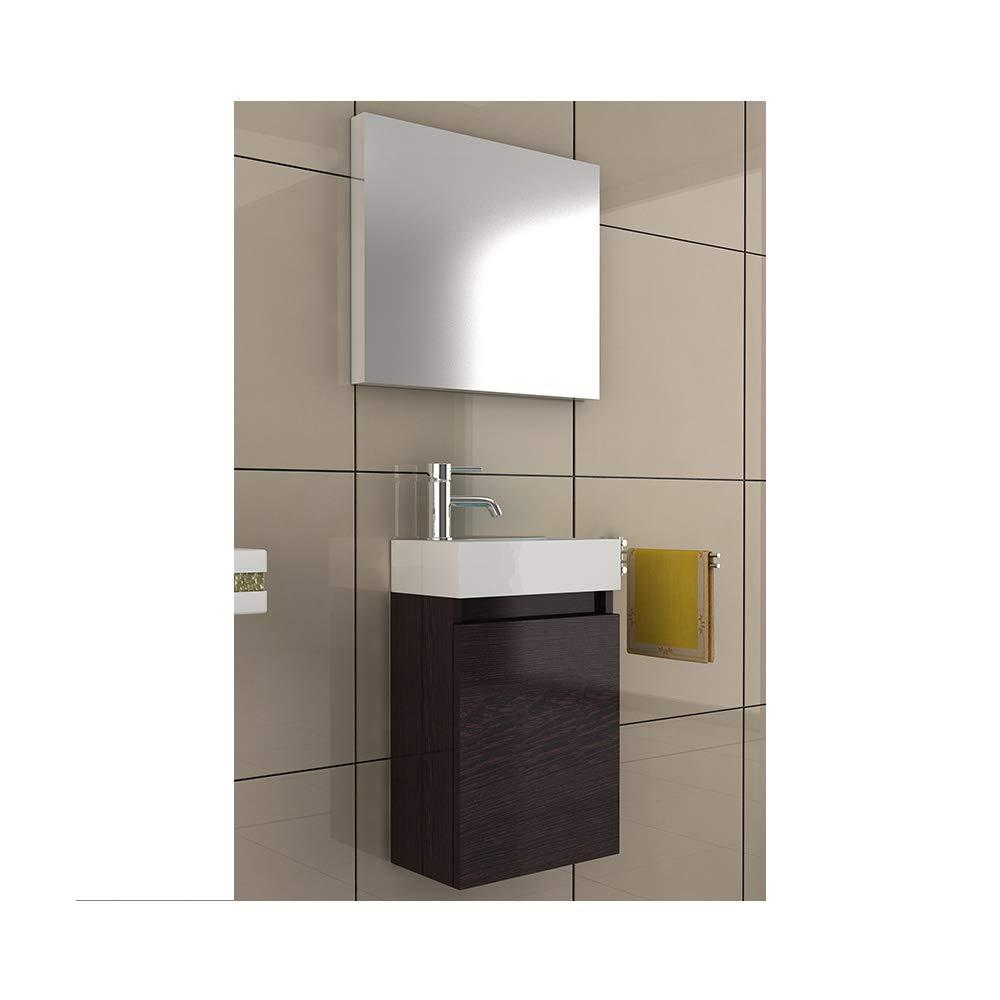Bad1a Badezimmer Möbel Waschtisch 40x22 mit Unterschrank in der Farbe Wenge, Designer Badmöbel für Gäste WC