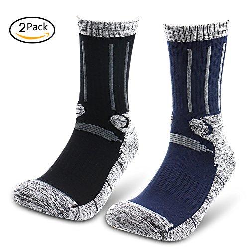 Mens Ski Cotton Socks Thick Warm Wicking Crew Socks for Hiking Snowboard (Short, Black&Blue)