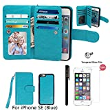 Case for iPhone SE / iPhone 5 5S Wallet, xhorizon TM SR Premium Leather Magnetic Detachable Folio Phone Case with Multiple Card Slots for iPhone SE(2016)/iPhone 5 5S with a 9H Tempered Glass Film -Blue