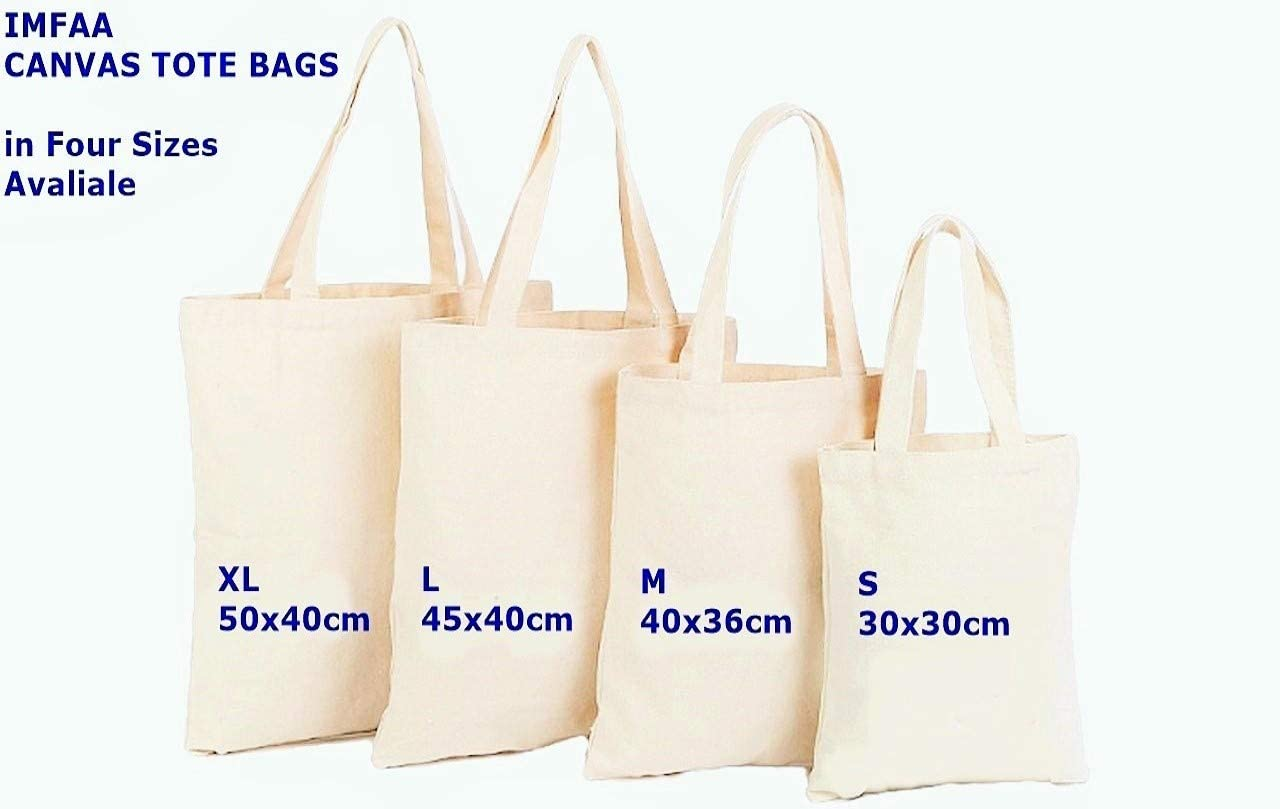 30x30 IMFAA Small Black, 1 cm 100/% Cotton Canvas Reusable Shoulder//Hand Tote Shopping Bags in Multi-Colours