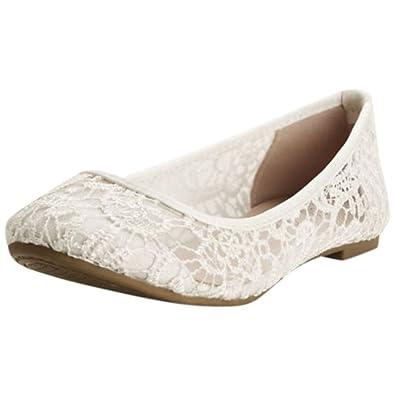 3a0f91443259 Amazon.com | David's Bridal Ballet Flats with Crochet Detail Style CLYNN31  | Flats