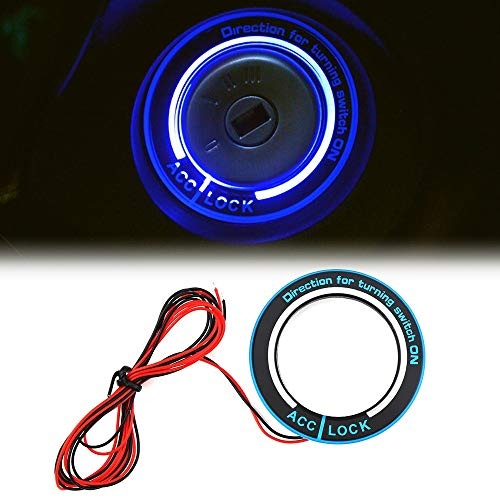 EVANST Car Light LED Ignition Switch Cover/Ring Key Ring Decoration Stickers for Ford Focus 2 Focus 3 4 MK3 MK4 Kuga S-MAX