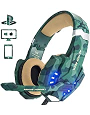 EasySMX PS4 Gaming Headset, LED-Beleuchtung Noise Cancellation Stereo Gaming Headset mit Mikrofon 3,5mm und In-line-Controller, Kompatibel mit Neue Xbox one, PS4, Mobile Phones, Laptop Tablet und PC