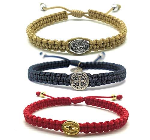 - Adjustable Woven Catholic Saint Medal Bracelet Mens Womens Kids Religious Gift