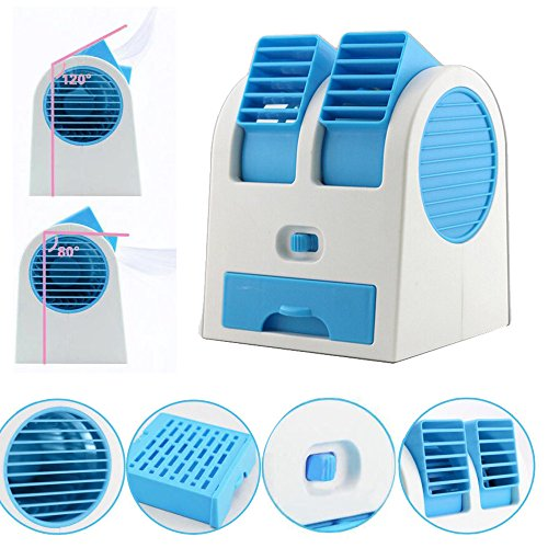 Luca Portable Air Conditioner Fan USB/Battery Operated Desktop Mini Double Port Fan Drawer Style Perfume Smell Bladeless Summer Cooling Fan for Home Office and Outdoor Travel