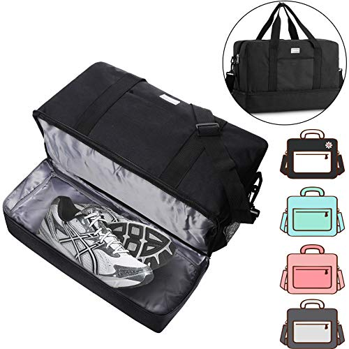 ACECHA Gym Bag Shoes Compartment Shoulder Bag Travel Duffel Bag Swim Bag for Women and Men