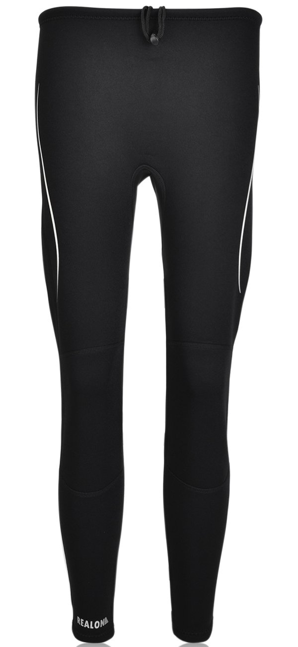 Realon Swim Tights Wetsuit Pants Men and Women's 3mm Neoprene Outdoor Recreation UV Suit Leggings Girls Water Sports XSPAN Surfing Scuba Diving Snorkeling Canoeing Stand (Black with White, M) by Realon