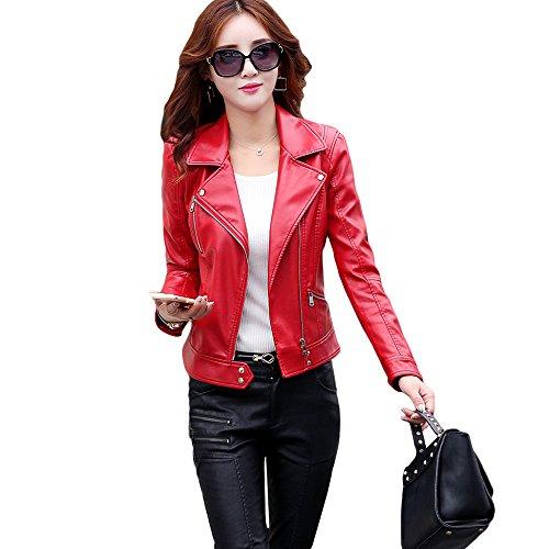 Women's Motorcycle Leather Jacket Shirt Slim (Red, M) (Red Motorcycle Jacket Women)