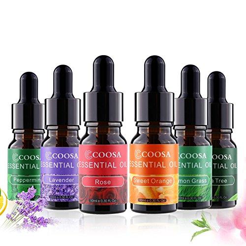Aromatherapy Essential Oils COOSA Top 6 Aroma Oils Best Gift Set Unique Dropper Design Bottle Tea Tree Oil, Peppermint Oil, Lemon Oil, Lavender Oil, Sweet Orange Oil, Rose Oil 10ml
