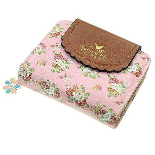 ETIAL Women's Vintage Floral Zip Mini Wallet Short Design Coin Purse Pink ()