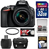 Nikon D5600 Digital SLR Camera & 18-55mm VR DX AF-P Lens with 32GB Card + Case Kit (Certified Refurbished)