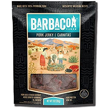 Barbacoa Sabor Pork Jerky, Carnitas, 3 Ounce
