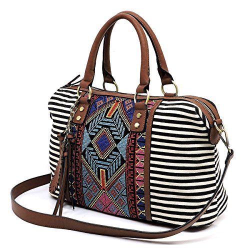 MMS Design Studio Zip-Top Boho Stripe Collection - Black, 4 Styles (Boston w/Strap) ()