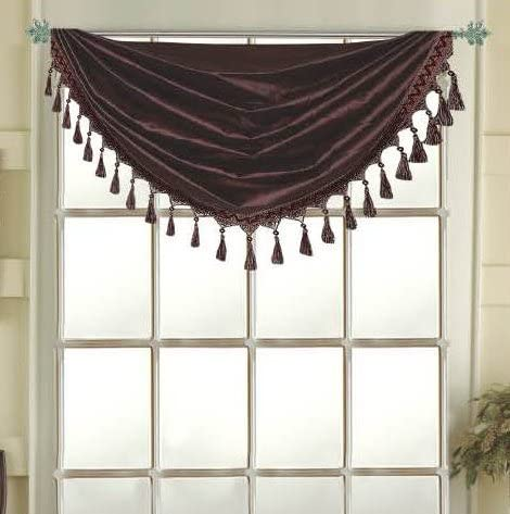 Editex Home Textiles Elaine Grommets Waterfall Valance, 36 by 37-Inch, Chocolate