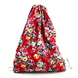 Cheap Creazrise Women Backpack,Womens Drawstring Canvas Backpack Floral Print Shoulder Bag (Red)