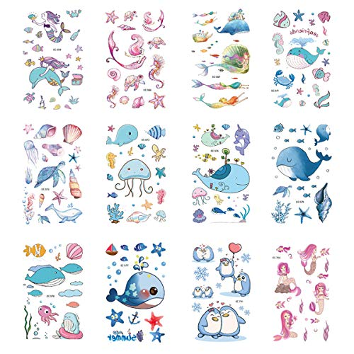 Under The Sea Tattoos (VIIRY Ocean Series Temporary Tattoos for Kids, 12 Sheets Kids Shark Dolphin Cartoon Tattoos Stickers for Stuffers Party)