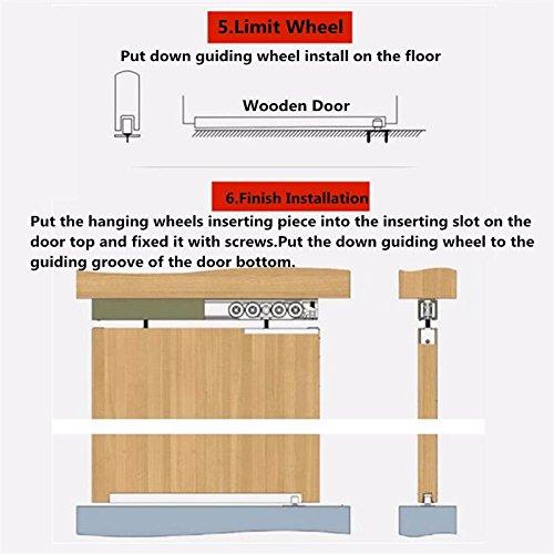 1 Pair/set Cold Rolled Steel Sliding Wooden Door Closet Hardware Kit Door Wheels Roller 12 Wheels