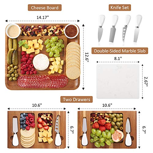 ABELL Cheese Board and Knife Sets, Acacia Charcuterie Boards Serving Tray with Double Side Marble Slab for Housewarming…