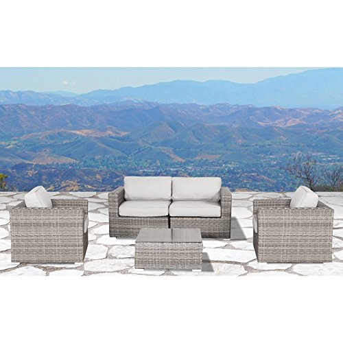 Living Source International Patio Furniture Sofa Garden, Sectional Furniture Set Resort Grade Furniture. No Assembly Required by Modern Century Outdoor (5 Pieces, Verona -