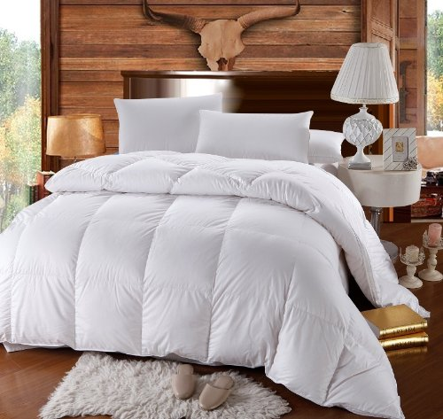 1200 Thread Count GOOSE DOWN Comforter, Baffle Box Construction, All Year Down, White, 100% Egyptian Cotton, 750FP, 50oz, Queen Size