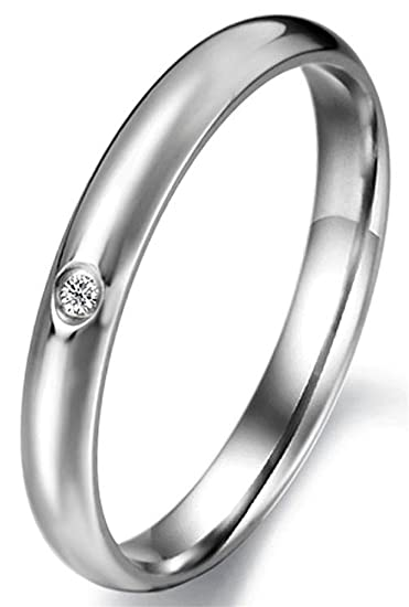 Amazon.com: JSDY Stainless Steel Womens 3mm Polished CZ Simple