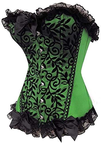 (Fashion Womens Sexy Lace Brocade Corset Bustier Shapewear (Green,Small))