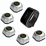 SINGCALL Wireless Calling Bells Waterproof Watch Receiver for Restaurant Bank School Hotel Factory Cinema,Pack of 1 Watch Receiver and 5 Pagers
