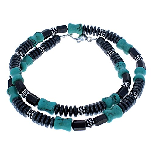 Tuquoise Magnesite, Hematite (Hemalyke) Rondelle & Magnetic Facets w/ Bali Style Sterling Necklace - 20
