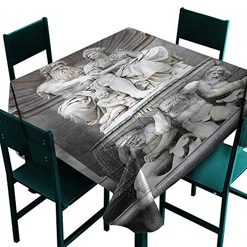 DONEECKL Square Tablecloth Sculptures Attraction in The Vienna Table Decoration W60 xL60