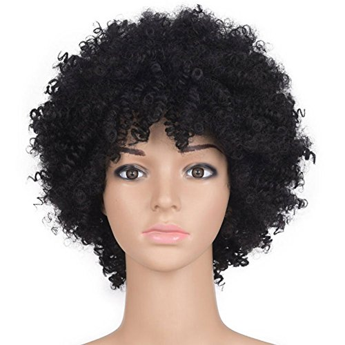 Beauty : Naseily Afro Kinky Curly Synthetic Wigs For Black Women Short Wigs For Women 2 Colors Available (1B)