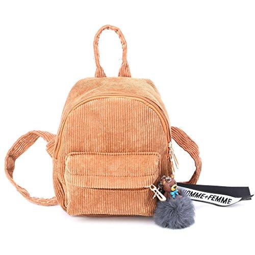 JAGENIE Women Corduroy Mini Backpack Girls School Bags Small Travel Handbag Shoulder Bag (Yellow Mini Handbag)