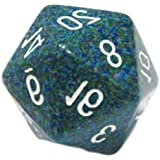Custom & Unique {Huge XL Big Large 34mm} 1 Ct Single Unit of 20 Sided [D20] Icosagon Shape Numbered Opaque Playing & Game Dice w/ Rounded Corner Edges w/ Jumbo Speckled Design [Blue, Green & White ]