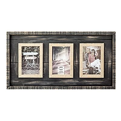PRINZ 3 Opening Madison Wood Collage Frame, 4 x 6, Black/Natural - Natural wood collage frame Display your favorite memories Black hand distressed finish - picture-frames, bedroom-decor, bedroom - 51WZdkcBIjL. SS400  -
